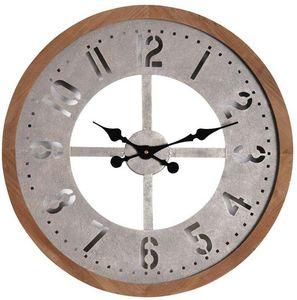 Aubry-Gaspard - horloge ronde en métal vieilli et bois - Orologio A Muro