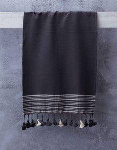 ATOLYIA - serviette à main truva à charbon - Telo Hammam
