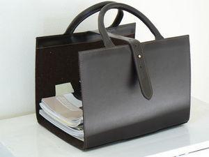MIDIPY - range revues en cuir noir - Portariviste