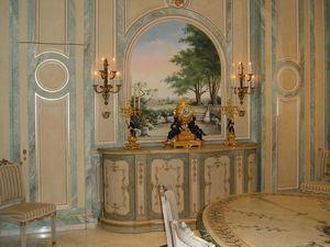 pique decor - salle a manger decor faux marbre - Finto Marmo