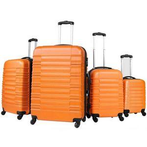 WHITE LABEL - lot de 4 valises bagage abs orange - Trolley / Valigia Con Ruote