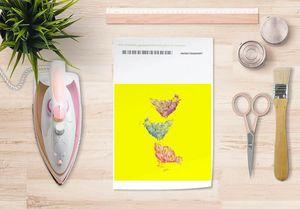 la Magie dans l'Image - papier transfert poules jaune - Trasferibile
