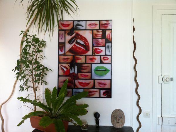 JOHANNA L COLLAGES - Quadro contemporaneo-JOHANNA L COLLAGES-J'aime ta bouche 60x80 cm